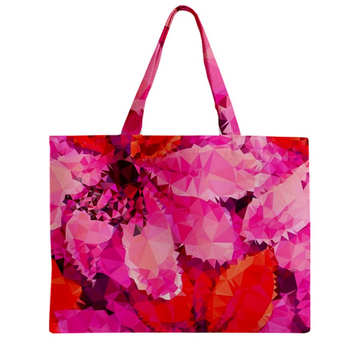 Geometric Magenta Garden Zipper Mini Tote Bag