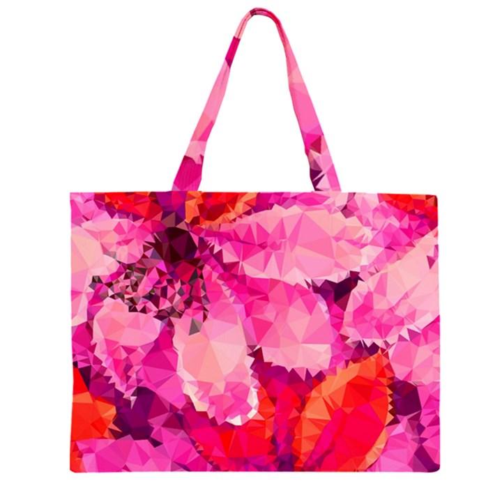 Geometric Magenta Garden Large Tote Bag