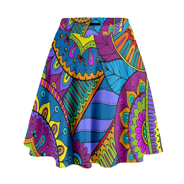 Pop Art Paisley Flowers Ornaments Multicolored High Waist Skirt