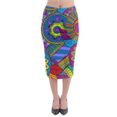 Pop Art Paisley Flowers Ornaments Multicolored Midi Pencil Skirt