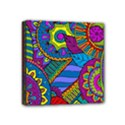 Pop Art Paisley Flowers Ornaments Multicolored Mini Canvas 4  x 4  View1