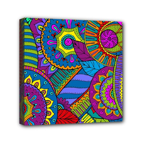 Pop Art Paisley Flowers Ornaments Multicolored Mini Canvas 6  X 6