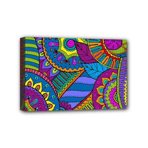 Pop Art Paisley Flowers Ornaments Multicolored Mini Canvas 6  x 4