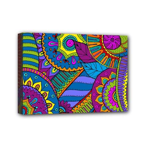 Pop Art Paisley Flowers Ornaments Multicolored Mini Canvas 7  X 5