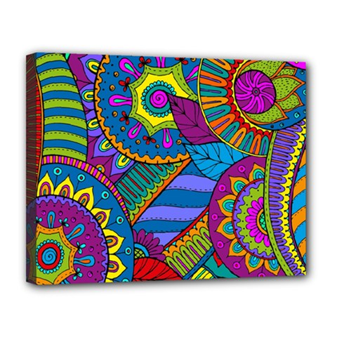 Pop Art Paisley Flowers Ornaments Multicolored Canvas 14  x 11