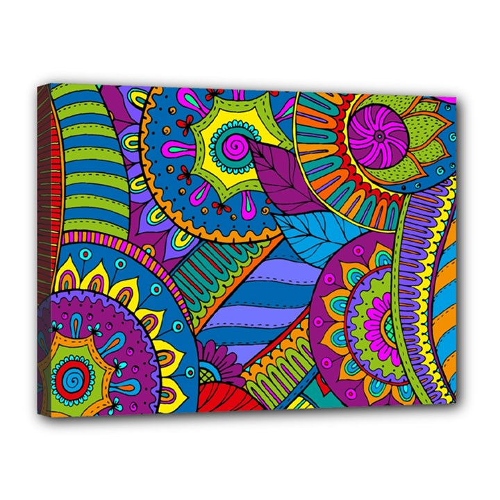 Pop Art Paisley Flowers Ornaments Multicolored Canvas 16  x 12