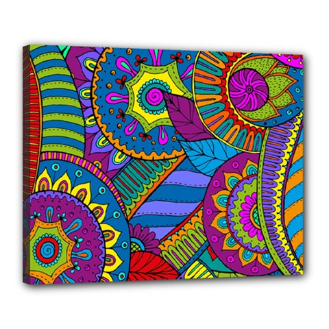 Pop Art Paisley Flowers Ornaments Multicolored Canvas 20  X 16