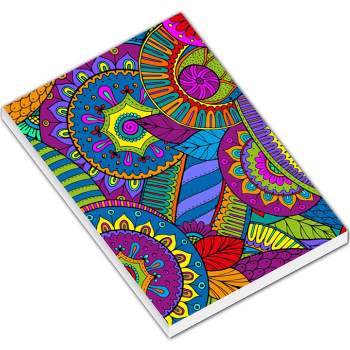 Pop Art Paisley Flowers Ornaments Multicolored Large Memo Pads