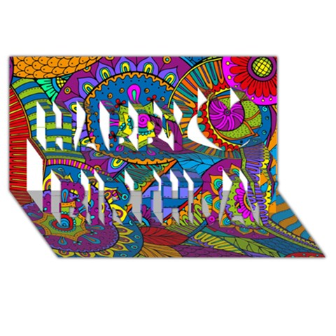 Pop Art Paisley Flowers Ornaments Multicolored Happy Birthday 3D Greeting Card (8x4)