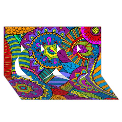 Pop Art Paisley Flowers Ornaments Multicolored Twin Hearts 3D Greeting Card (8x4)