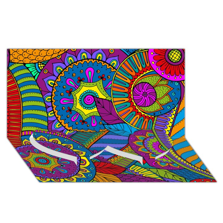 Pop Art Paisley Flowers Ornaments Multicolored Twin Heart Bottom 3D Greeting Card (8x4)