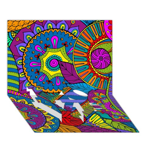 Pop Art Paisley Flowers Ornaments Multicolored LOVE Bottom 3D Greeting Card (7x5)