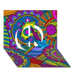 Pop Art Paisley Flowers Ornaments Multicolored Peace Sign 3D Greeting Card (7x5)
