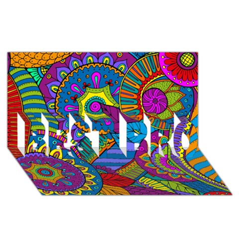 Pop Art Paisley Flowers Ornaments Multicolored BEST BRO 3D Greeting Card (8x4)
