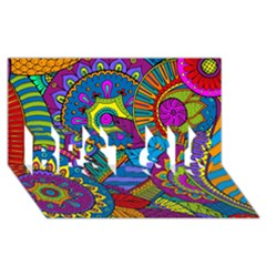 Pop Art Paisley Flowers Ornaments Multicolored BEST SIS 3D Greeting Card (8x4)