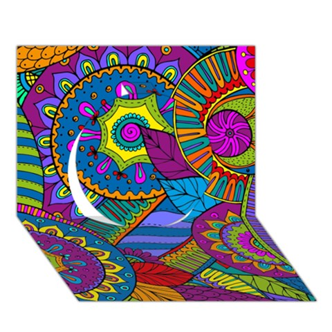 Pop Art Paisley Flowers Ornaments Multicolored Circle 3D Greeting Card (7x5)