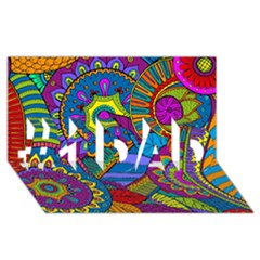 Pop Art Paisley Flowers Ornaments Multicolored #1 Dad 3d Greeting Card (8x4)