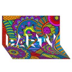 Pop Art Paisley Flowers Ornaments Multicolored Party 3d Greeting Card (8x4)