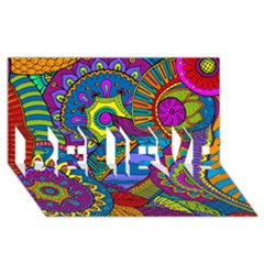 Pop Art Paisley Flowers Ornaments Multicolored Believe 3d Greeting Card (8x4)