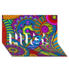 Pop Art Paisley Flowers Ornaments Multicolored Hugs 3d Greeting Card (8x4)