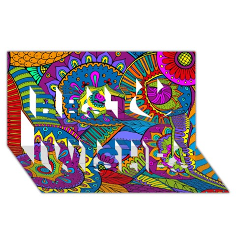 Pop Art Paisley Flowers Ornaments Multicolored Best Wish 3D Greeting Card (8x4)