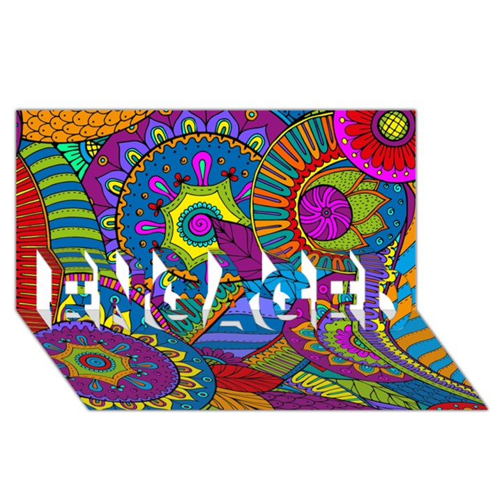Pop Art Paisley Flowers Ornaments Multicolored ENGAGED 3D Greeting Card (8x4)