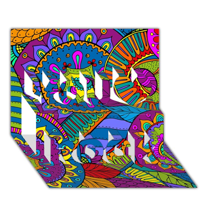 Pop Art Paisley Flowers Ornaments Multicolored You Rock 3D Greeting Card (7x5)