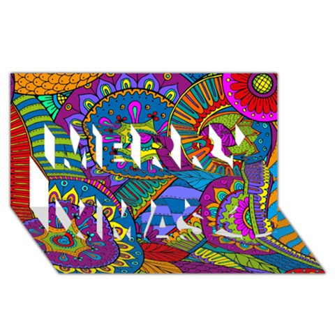 Pop Art Paisley Flowers Ornaments Multicolored Merry Xmas 3D Greeting Card (8x4)