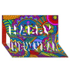 Pop Art Paisley Flowers Ornaments Multicolored Happy New Year 3d Greeting Card (8x4)