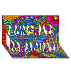 Pop Art Paisley Flowers Ornaments Multicolored Congrats Graduate 3D Greeting Card (8x4)