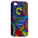 Pop Art Paisley Flowers Ornaments Multicolored Apple iPhone 4/4S Hardshell Case (PC+Silicone) View2