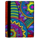 Pop Art Paisley Flowers Ornaments Multicolored Samsung Galaxy Tab 10.1  P7500 Flip Case View2