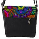Pop Art Paisley Flowers Ornaments Multicolored Flap Messenger Bag (S) View1