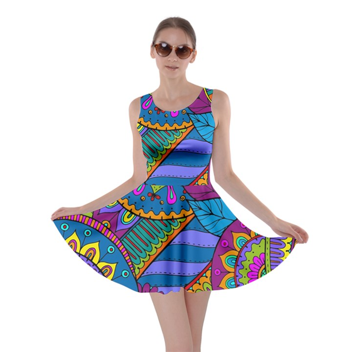 Pop Art Paisley Flowers Ornaments Multicolored Skater Dress
