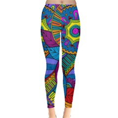 Pop Art Paisley Flowers Ornaments Multicolored Leggings