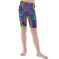 Pop Art Paisley Flowers Ornaments Multicolored Kids  Mid Length Swim Shorts