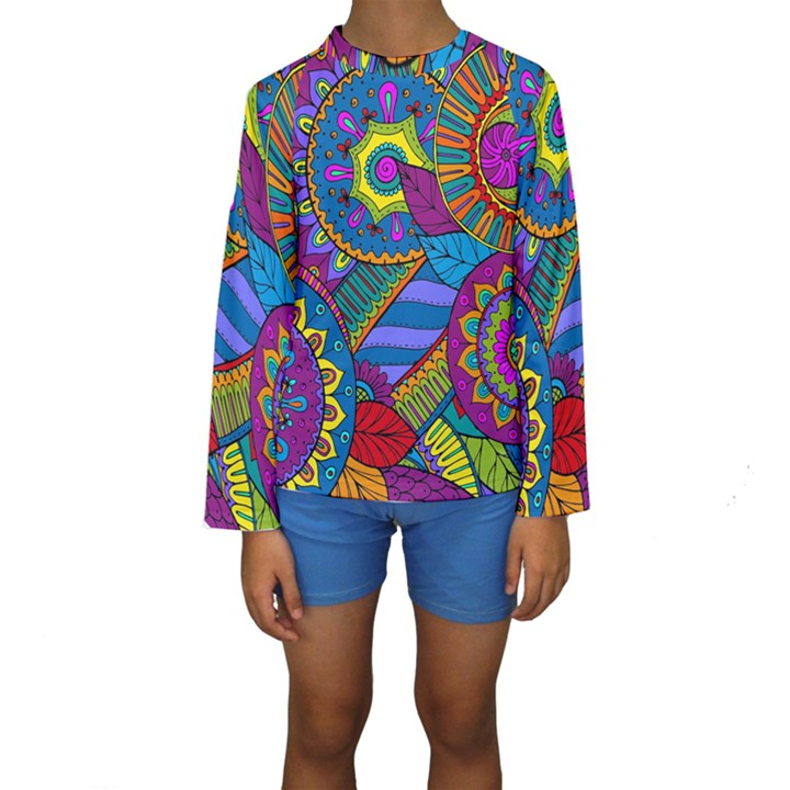 Pop Art Paisley Flowers Ornaments Multicolored Kids  Long Sleeve Swimwear