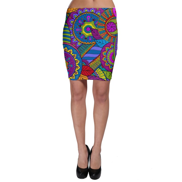 Pop Art Paisley Flowers Ornaments Multicolored Bodycon Skirt