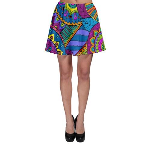 Pop Art Paisley Flowers Ornaments Multicolored Skater Skirt