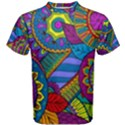 Pop Art Paisley Flowers Ornaments Multicolored Men s Cotton Tee View1