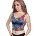 Pop Art Paisley Flowers Ornaments Multicolored Crop Top View1