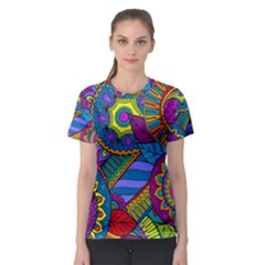 Pop Art Paisley Flowers Ornaments Multicolored Women s Sport Mesh Tee