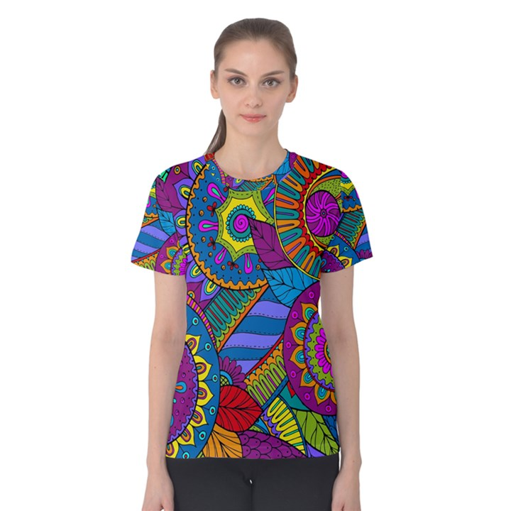 Pop Art Paisley Flowers Ornaments Multicolored Women s Cotton Tee