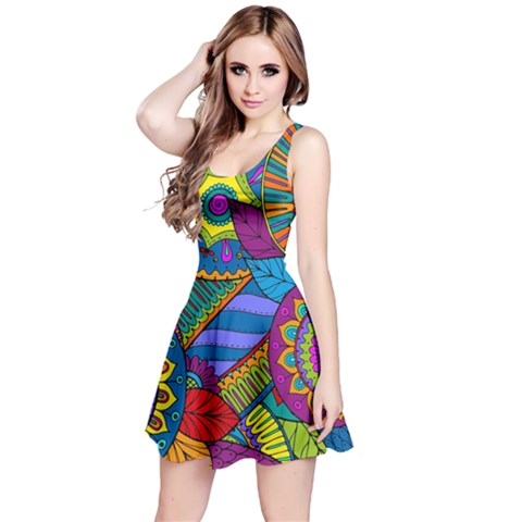 Pop Art Paisley Flowers Ornaments Multicolored Reversible Sleeveless Dress