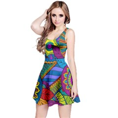 Pop Art Paisley Flowers Ornaments Multicolored Reversible Sleeveless Dress