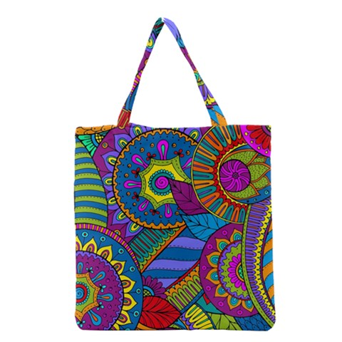 Pop Art Paisley Flowers Ornaments Multicolored Grocery Tote Bag