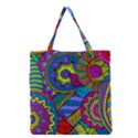 Pop Art Paisley Flowers Ornaments Multicolored Grocery Tote Bag View1