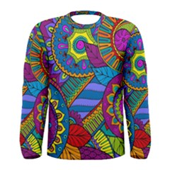 Pop Art Paisley Flowers Ornaments Multicolored Men s Long Sleeve Tee