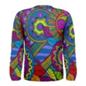 Pop Art Paisley Flowers Ornaments Multicolored Men s Long Sleeve Tee View2