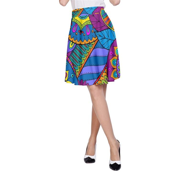 Pop Art Paisley Flowers Ornaments Multicolored A-Line Skirt